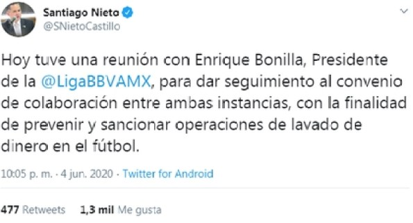 There was a meeting between Santiago Nieto, head of the UIF, and Enrique Bonilla, president of Liga MX (Photo: Twitter / @SNietoCastillo)