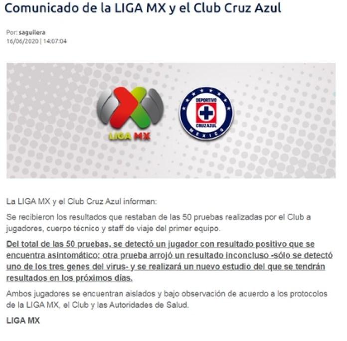 Cruz Azul and Liga MX announced the health status of the two players (Photo: Liga MX)