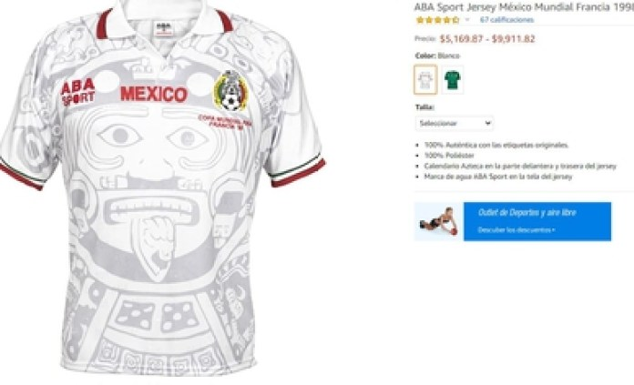 Currently the official jersey is sold on websites and can be found from 900 pesos to 10,000 (Screenshot: Amazon.com)