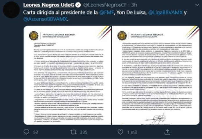 Alberto Marrero published the letter he sent to Yon de Luisa and Enrique Bonilla this Wednesday (Photo: Twitter @LeonesNegrosCF)