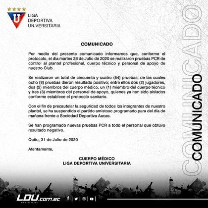 The official statement of Liga de Quito