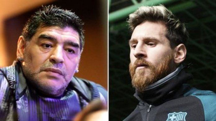 Diego Armando Maradona and Lionel Messi, two of the best players in history