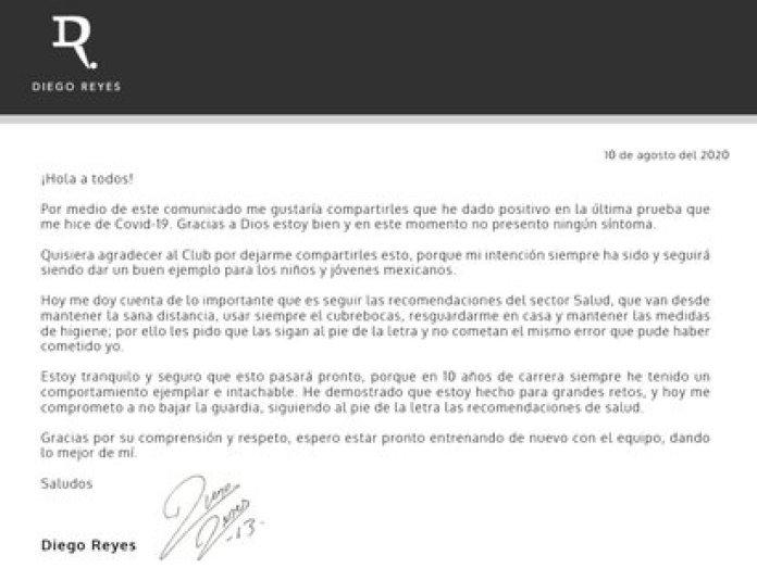 Statement from Diego Reyes (Photo: Twitter / @ Diego_Reyes13)