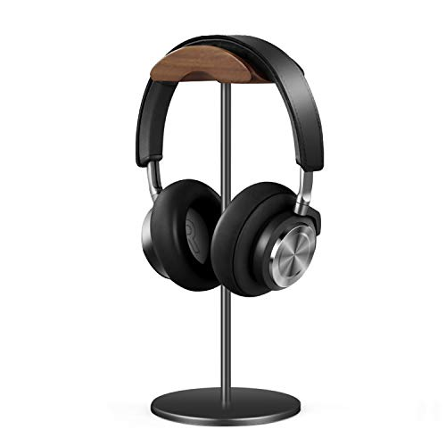 QinCoon Headphone Stand, Walnut Aluminum Stand, Gaming Headset Stand with Solid and Heavy Base, Applicable to All Size Headband Headphones (Black)