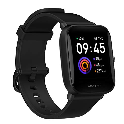 "Amazfit Bip U Smartwatch Fitness Smart Watch 60+ Sports Modes 1.43"" Large Color Touch Screen 5 ATM Built-in GPS (SpO2) Blood Oxygen Heart Rate-Black"