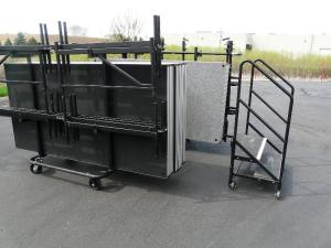 Another view of the stage deck panes on the storage and transport carts.
