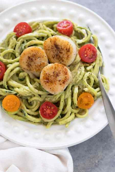Zucchini Noodles Seared Scallops