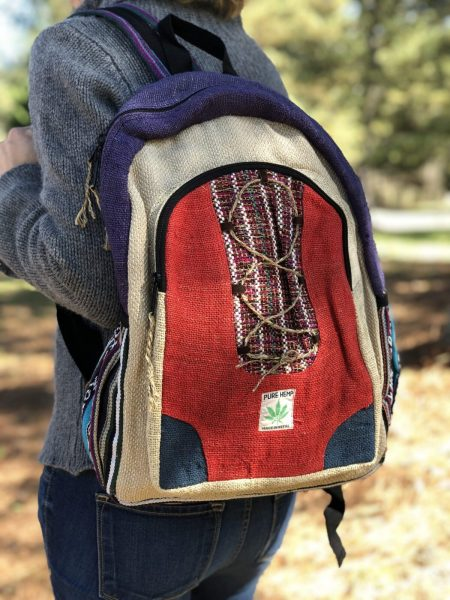 Himalayan Hemp Backpack Red and Blue