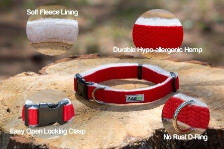Asatre Red Hemp Dog Collar