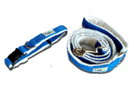 Asatre Blue Hemp Collar and Leash Set