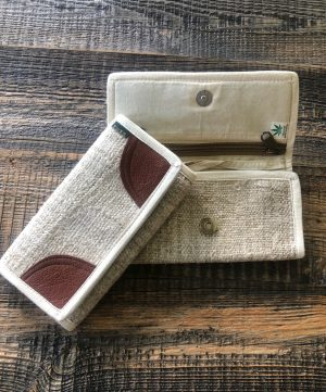 Women's Hemp Wallet Med Brown White Trim