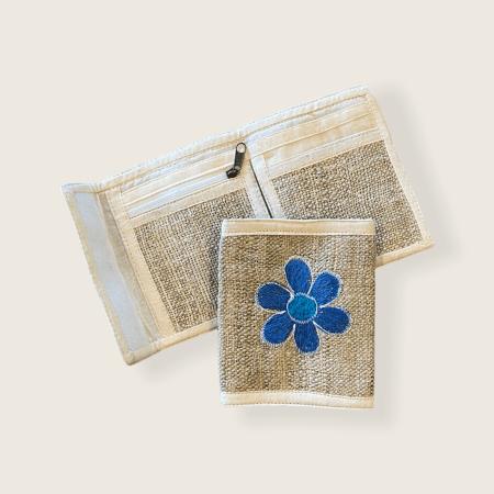 Hemp Bi-fold Wallet - Lt Blue FLower