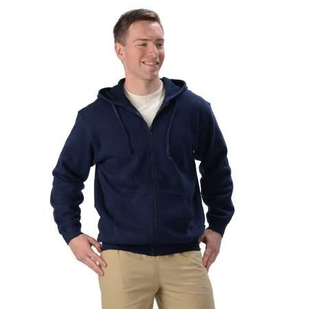 Men's Hemp and Organic Cottons Zip Hoodie- Blue