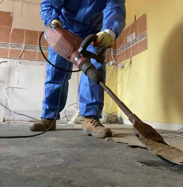 asbestos floor tile bitumen removal