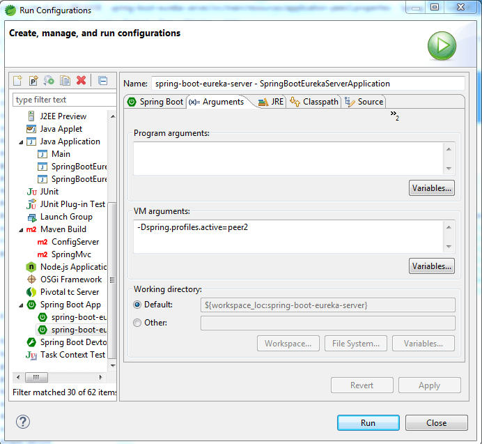 run configuration eureka server