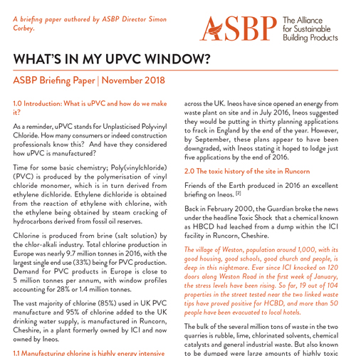 ASBP Briefing Paper - What's in my uPVC window