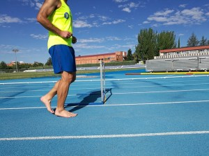 Running barefoot can be done on a track or anywhere else