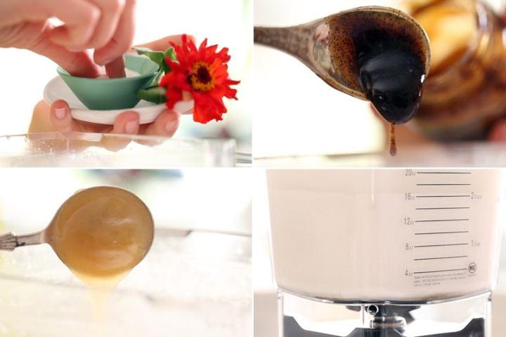 Blending the nut milk with sea salt, vanilla and honey to sweeten