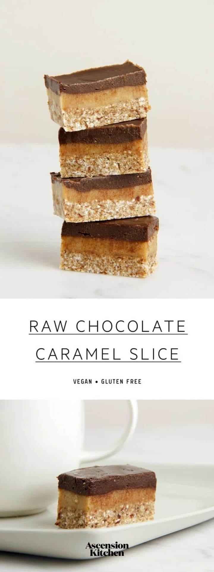 My World famous Raw Chocolate Caramel Slice. This lush raw dessert has a buckwheat and coconut 'biscuit' base, with a caramel filling made from macadamia nuts, cashew, maple and lemon, with a thick and dreamy chocolate icing. #vegantreats #vegandesserts #vegansweet #vegandessertideas #rawvegan #caramelslice #dairyfreedesserts #glutenfreedesserts #rawcaramelslice #caramelslicevegan #vegancaramel #healthydessertideas #dessertideas #treatideas #chocolatecaramelslice #unbakeslice #AscensionKitchen // Pin to your own inspiration board //