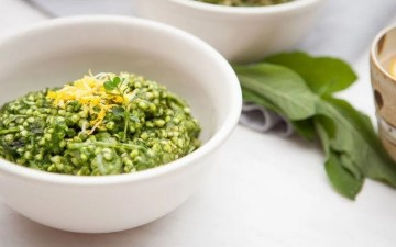 Creamy Spinach and Buckwheat Risotto. Gluten free, dairy free.