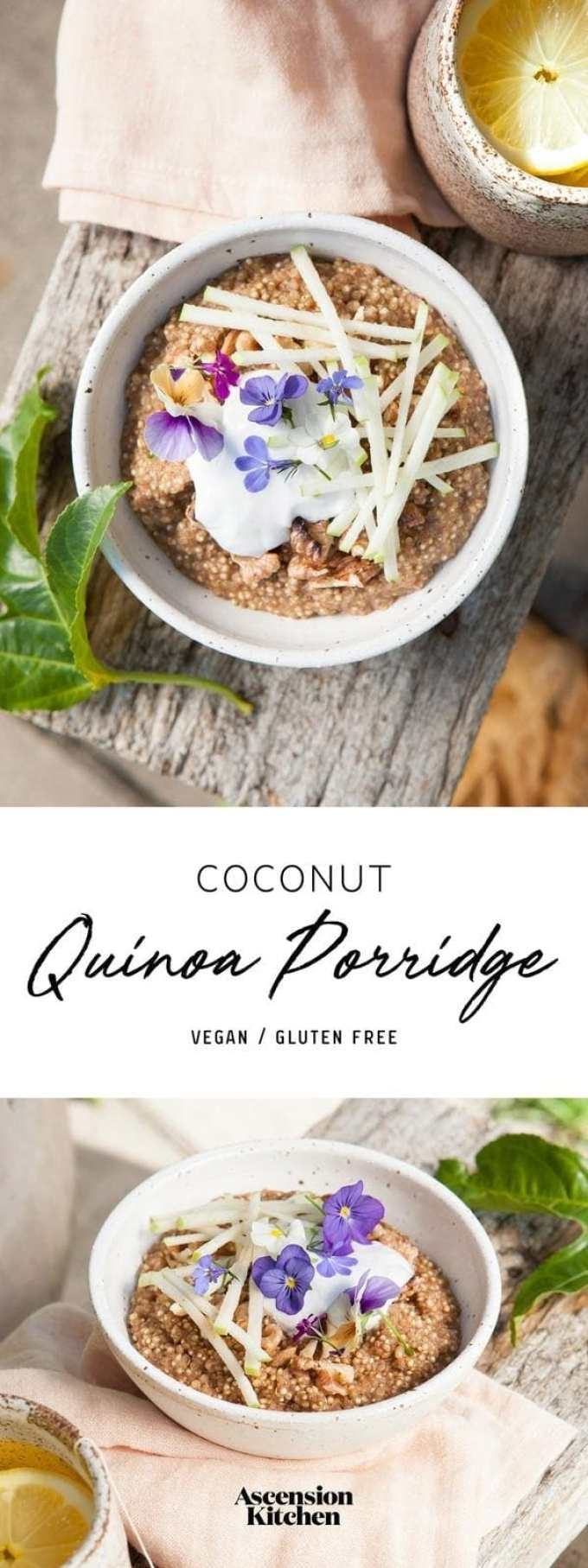 Coconut Quinoa Porridge made with warming aromatic spices. Sprout the quinoa for extra nutrition. #quinoaporridge #quickquinoaporridge #quinoaporridgecoconutmilk #quinoaporridgevegan #quinoaporridgerecipe #quinoaporridgeovernight #quinoaporridgecoconut #quinoaporridgehealthy #AscensionKitchen // Pin to your own inspiration board! //