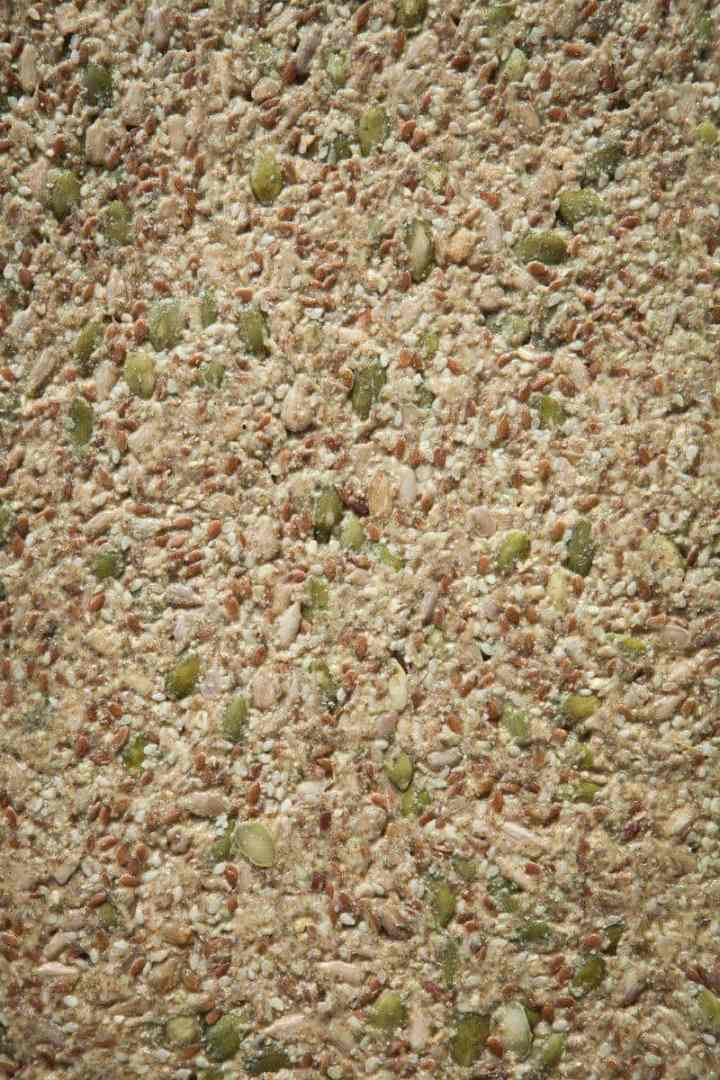 Close up of seed cracker mixture spread thin over a try prior to baking