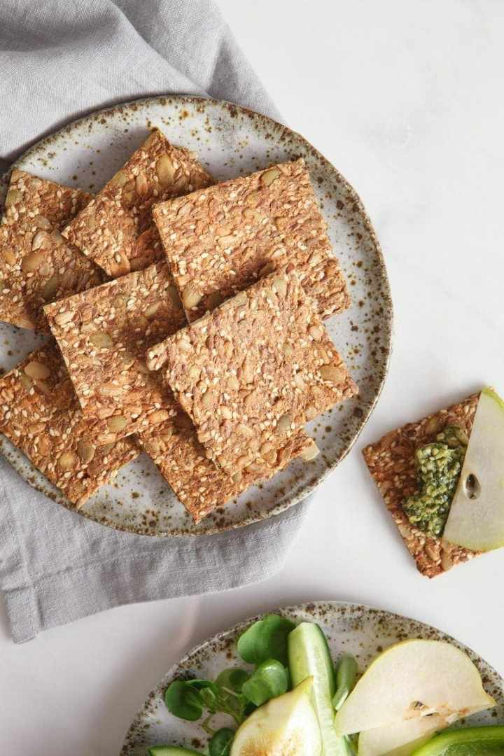 Speedy Super Seed Crackers arranged on a plate ready to serve