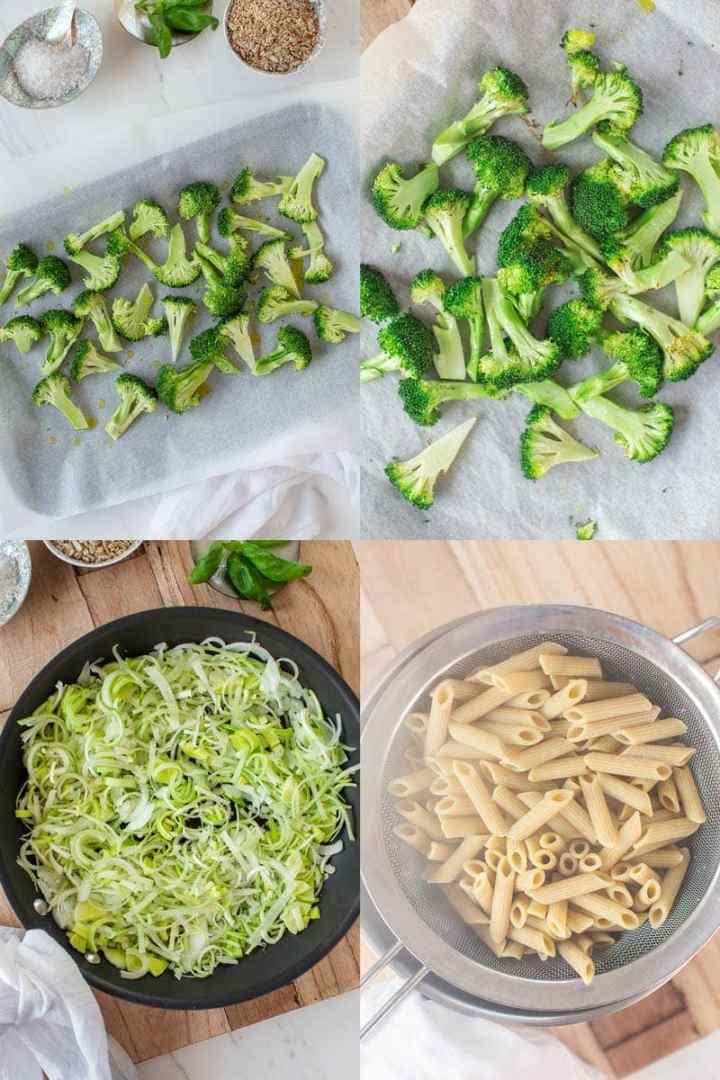 Images showing how to make broccoli pasta step by step