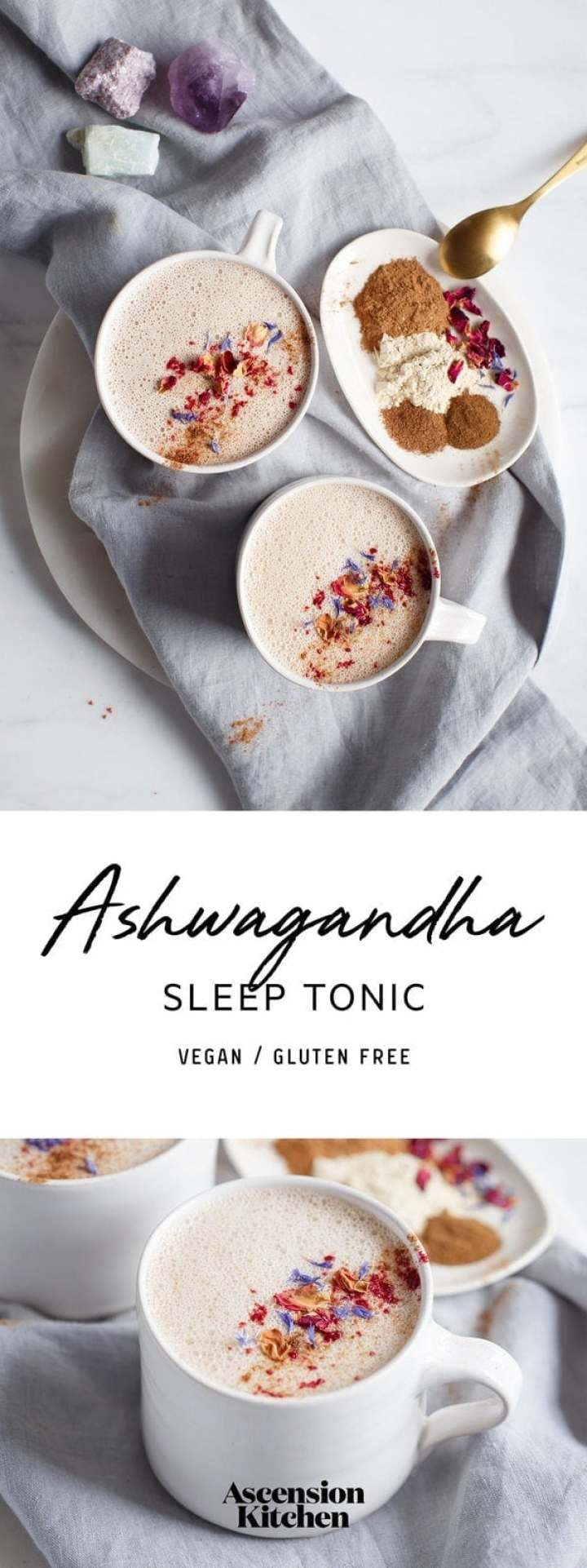 Ashwagandha milk – a tonic to help support sleep and relieve stress and anxiety. #Ashwagandhatonic #Adaptogen #HerbalSleepTonic #AshwagandaMilk #Ashwagandhadrink #Ayurveda #AscensionKitchen // Pin to your own inspiration board! //