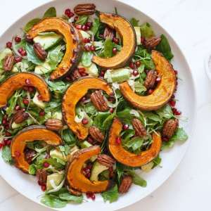 Roasted Kabocha Salad with Maple Spiced Pecans
