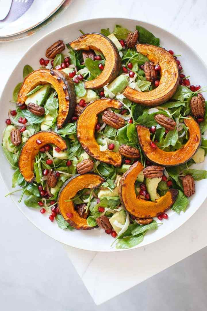 Hero shot of the squash salad on the table top