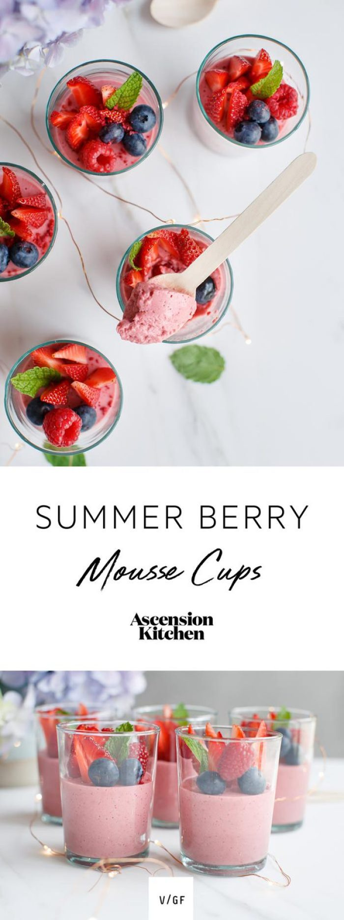 Summer Berry Mousse Cups - dairy free, nut free, gluten free
