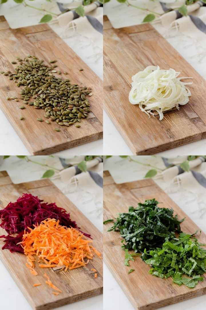 Step by step photographs demonstrating how to prep the vegetables for raw beet salad