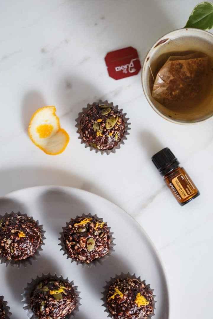 Chocolate crackles with orange zest on top