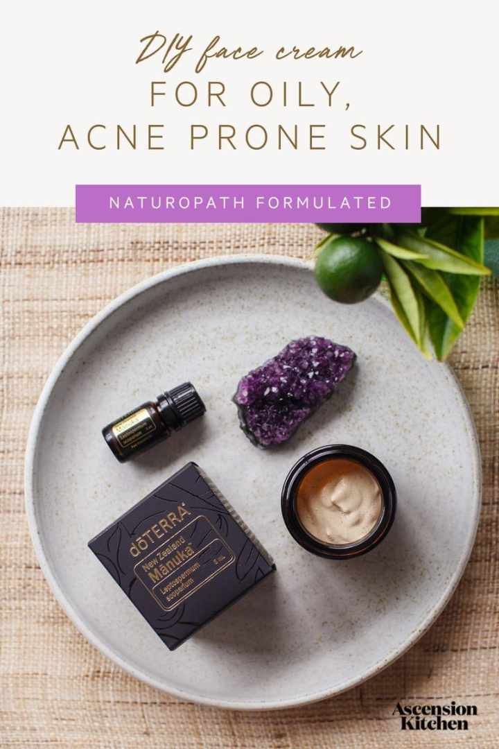 How to make a homemade face cream for oily and acne prone skin, with soothing aloe vera, calendula, licorice and Manuka essential oil. Naturopath formulated skin care recipe. #DIYbeauty #DIYskincare #DIYfacecream #Naturalbeauty #acne #oilyskin #essentialoils #doterra #AscensionKitchen