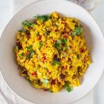 Large bowl of saffron rice