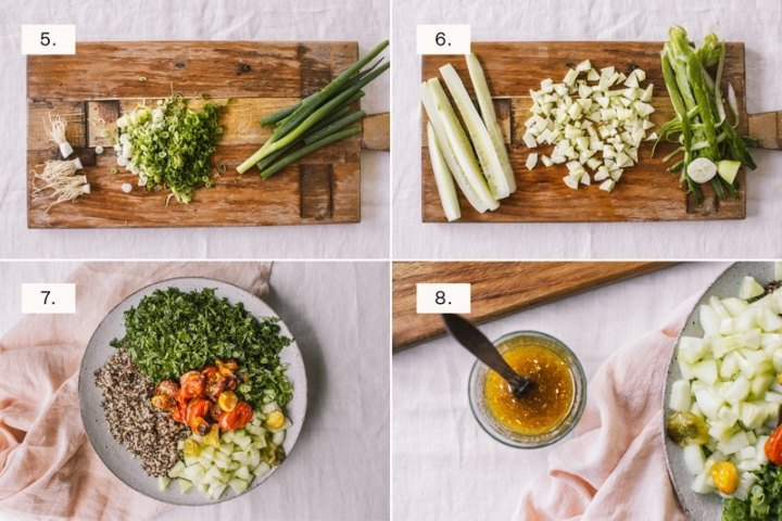 Step by step photos for making quinoa tabbouleh, two of two