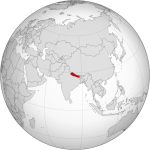 Nepal on orthographic projection map