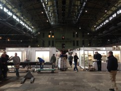 The view from the exhibitors' entrance. On set-up day, trucks pull right into the armory for unloading.