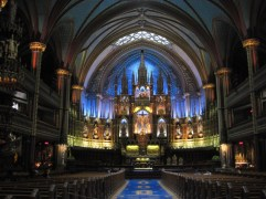 Notre Dame Basilica in Montreal, Quebec. Completed in 1843.