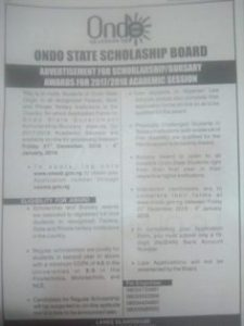 Ondo State Scholarship - Ondo - Bursary for Indegenes of Ondo State 2019/2020 Session