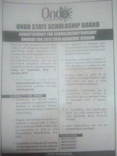 Ondo State Scholarship - Ondo -Bursary for Indegenes of Ondo State 2017/2018 Session