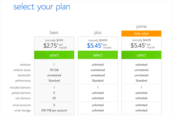 How to Select your hosting plan on Bluehost