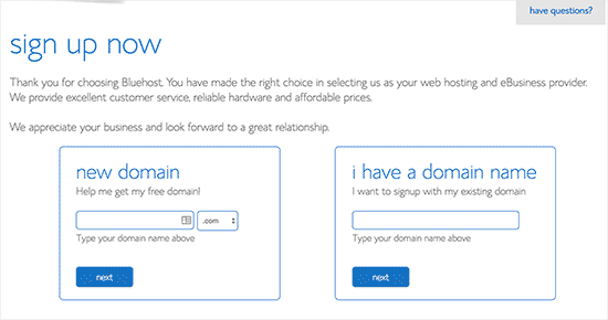Select a new domain name