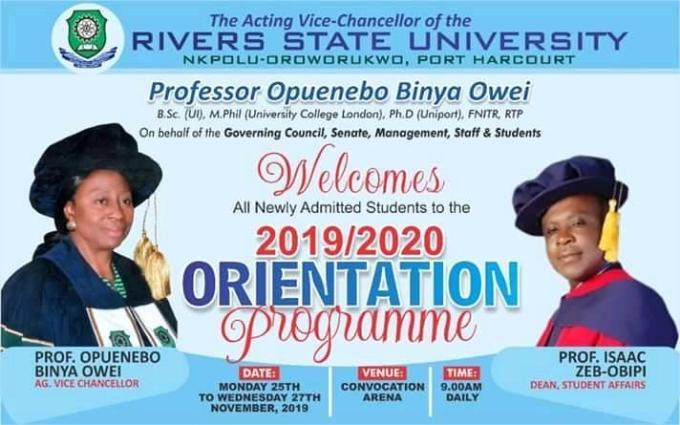 RSUST Orientation Programme for (2019/2020)