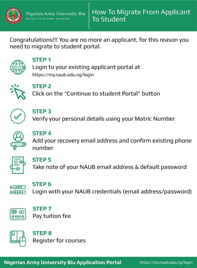 How to Migrate From Applicant to Student In NAUB