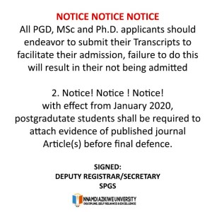 Notice to Unizik PGD, MSc, and ph.D