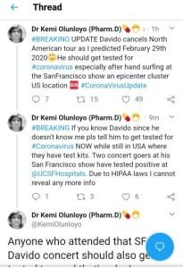 Davido Must Be Tested For Coronavirus – Investigative Journalist, Kemi Olunloyo 1