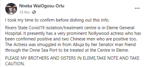 'Popular Nollywood actress down with coronavirus, quarantined for treatment in Rivers state' 1