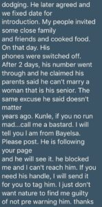 After having 28 abortions, Kunle refused to marry because i'm older than him – Bayelsa lady cries out